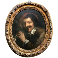 Gorgeous Framed 1700s Flemish Painting Oil on Canvas Representing a Pipe Smoker