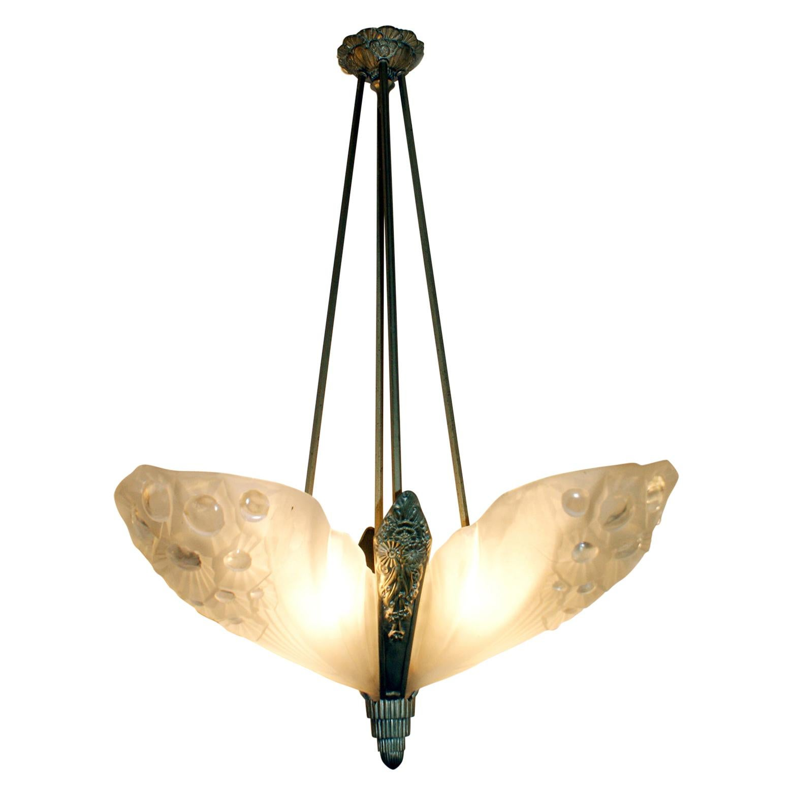 Gorgeous French Art Deco Chandelier Signed by Muller Frères Luneville