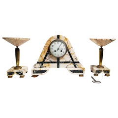 "Gorgeous French Art Deco Clock Set and Two Tazzas Signed C.H PARIS and ""JUST"""