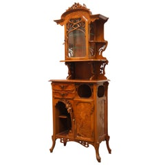 Gorgeous French Art Nouveau Cabinet / Display Cabinet with Marquetry, 1890