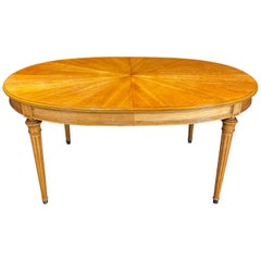 Gorgeous French Louis XVI Style Dining Table with Sunburst Top and Leaves