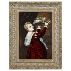 Gorgeous French Maroon Limoges Enamel Porcelain Plaque Woman with Fruits, Titian