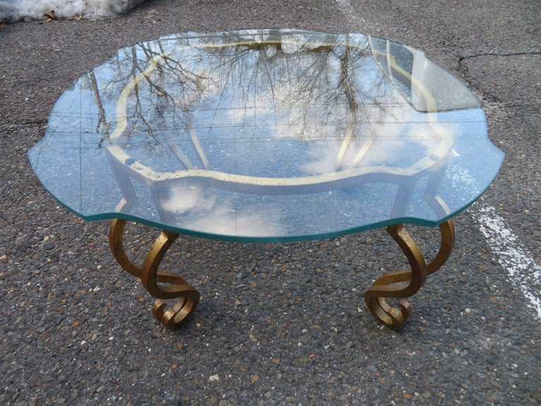 French deco gilded iron side table in lovely vintage condition designed by Maison Ramsay.