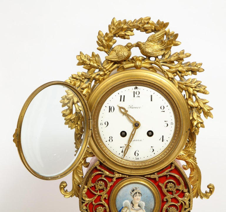 Gorgeous French Ormolu Gilt Bronze-Mounted Red Painted Mantel Clock, 1870 For Sale 5