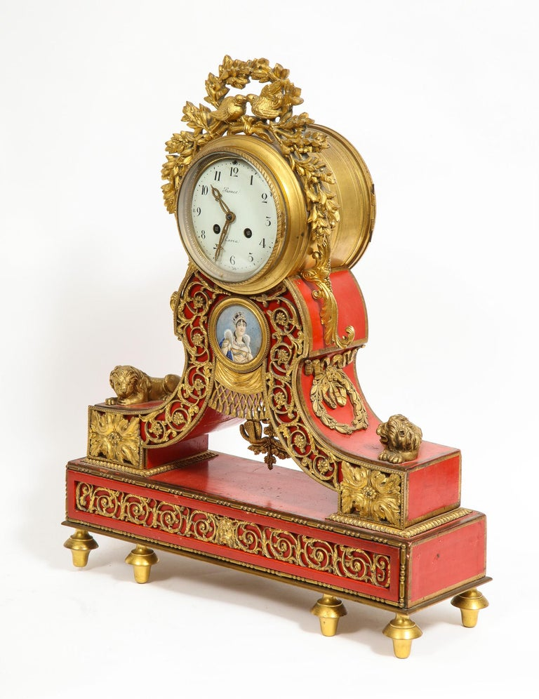 Gorgeous French Ormolu Gilt Bronze-Mounted Red Painted Mantel Clock, 1870 For Sale 7
