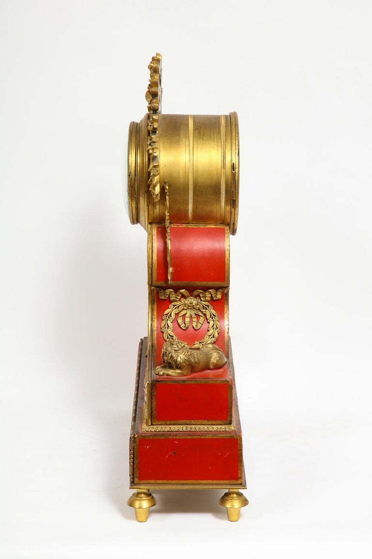 Gorgeous French Ormolu Gilt Bronze-Mounted Red Painted Mantel Clock, 1870 For Sale 8