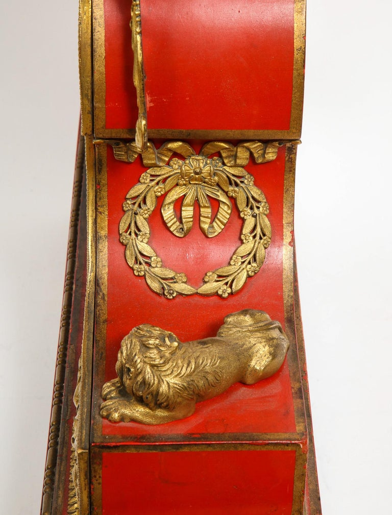 Gorgeous French Ormolu Gilt Bronze-Mounted Red Painted Mantel Clock, 1870 For Sale 9