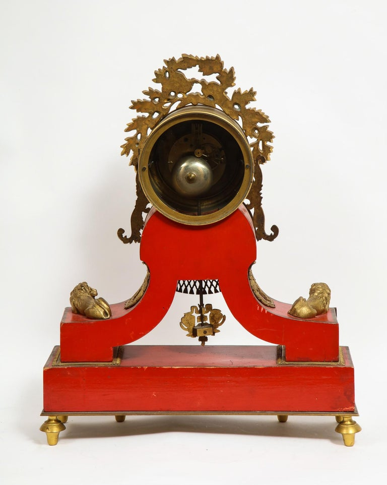 Gorgeous French Ormolu Gilt Bronze-Mounted Red Painted Mantel Clock, 1870 For Sale 10