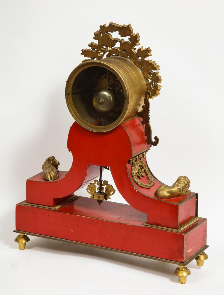 Gorgeous French Ormolu Gilt Bronze-Mounted Red Painted Mantel Clock, 1870 For Sale 11