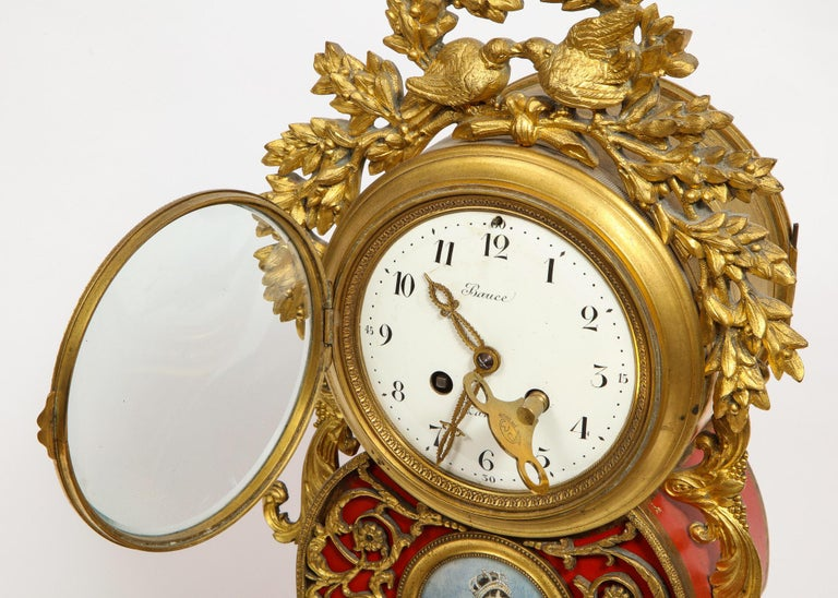 Gorgeous French Ormolu Gilt Bronze-Mounted Red Painted Mantel Clock, 1870 For Sale 12