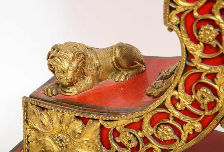 Gorgeous French Ormolu Gilt Bronze-Mounted Red Painted Mantel Clock, 1870 For Sale 13