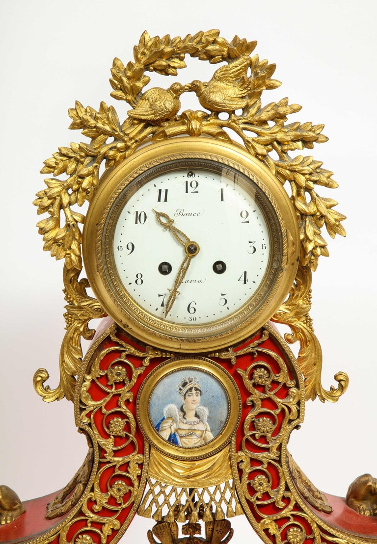 Empire Revival Gorgeous French Ormolu Gilt Bronze-Mounted Red Painted Mantel Clock, 1870 For Sale