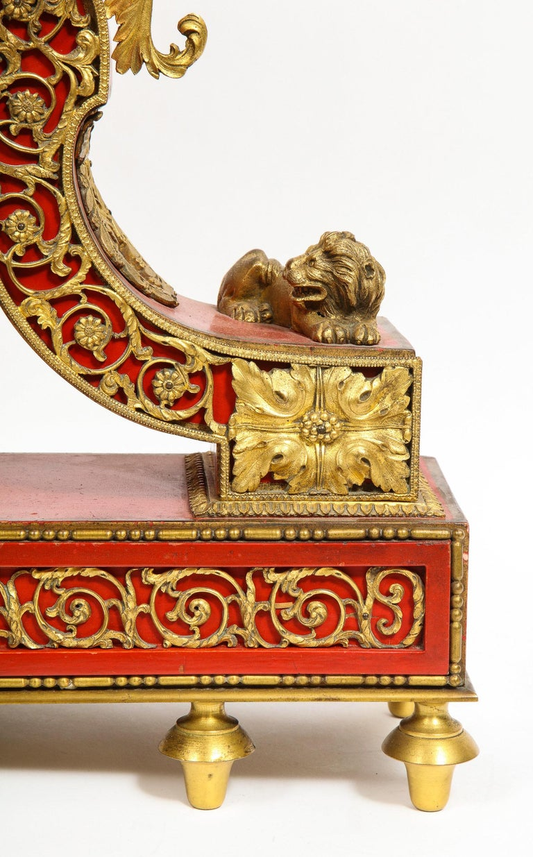 Gorgeous French Ormolu Gilt Bronze-Mounted Red Painted Mantel Clock, 1870 In Good Condition For Sale In New York, NY