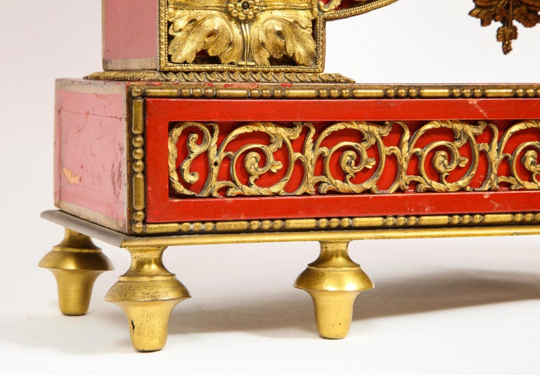 19th Century Gorgeous French Ormolu Gilt Bronze-Mounted Red Painted Mantel Clock, 1870 For Sale