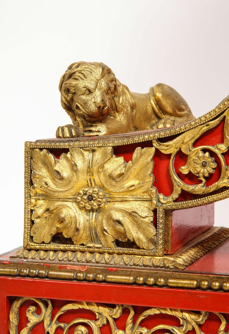 Gorgeous French Ormolu Gilt Bronze-Mounted Red Painted Mantel Clock, 1870 For Sale 1