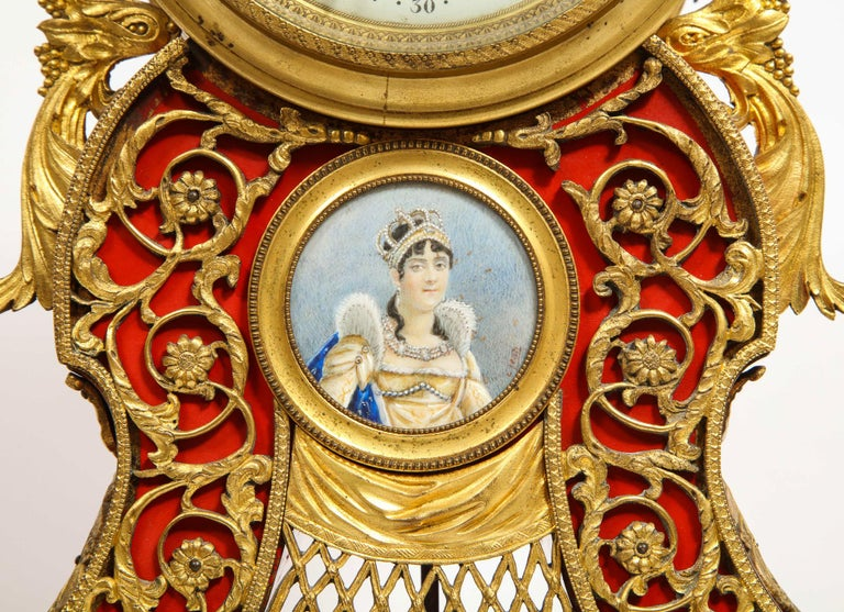Gorgeous French Ormolu Gilt Bronze-Mounted Red Painted Mantel Clock, 1870 For Sale 2
