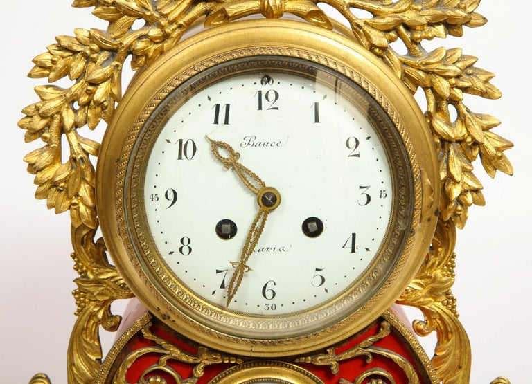 Gorgeous French Ormolu Gilt Bronze-Mounted Red Painted Mantel Clock, 1870 For Sale 3