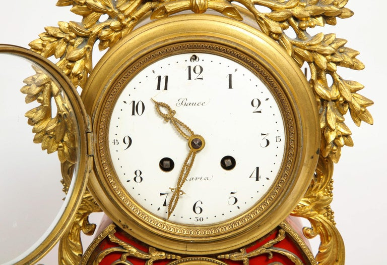 Gorgeous French Ormolu Gilt Bronze-Mounted Red Painted Mantel Clock, 1870 For Sale 4