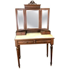 Gorgeous French Walnut Carved Dressing Table with Carrera Marble Top