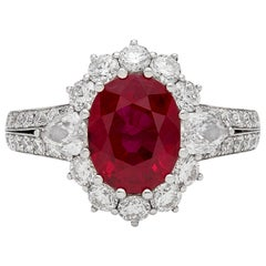 Gorgeous GIA 3.06 Carat Burma Ruby and Diamond Ring