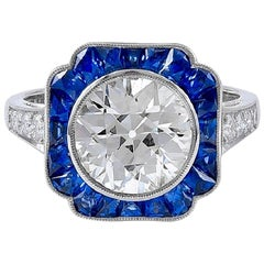 Gorgeous GIA Certified 2.53 Carat Center Diamond and Sapphire Ring