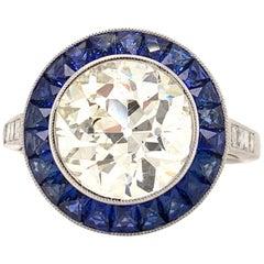 Gorgeous GIA Certified 3.04 Carat Diamond Platinum Sapphire Ring