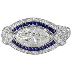 Gorgeous GIA Certified Platinum Marquise Center Diamond and Sapphire Ring