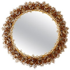 Gorgeous Gilt Brass & Crystal Glass Backlit Wall Mirror by Palwa, Germany, 1970s