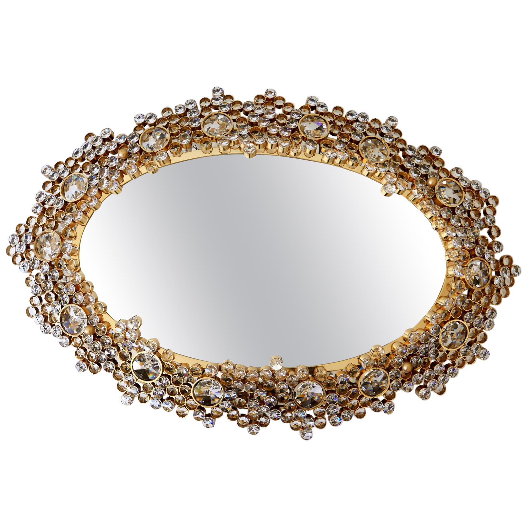 Gorgeous Gilt Brass & Crystal Glass Backlit Wall Mirror by Palwa, Germany, 1970s