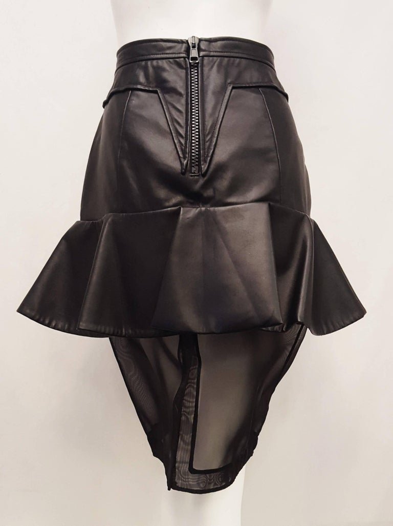 Givenchy Black Leather and Mesh Ruffled Skirt  In Excellent Condition For Sale In Palm Beach, FL