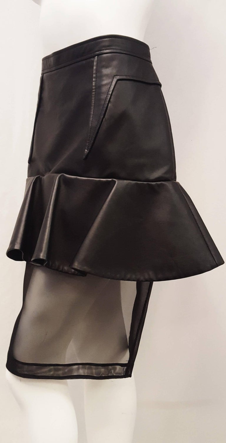 Women's Givenchy Black Leather and Mesh Ruffled Skirt  For Sale