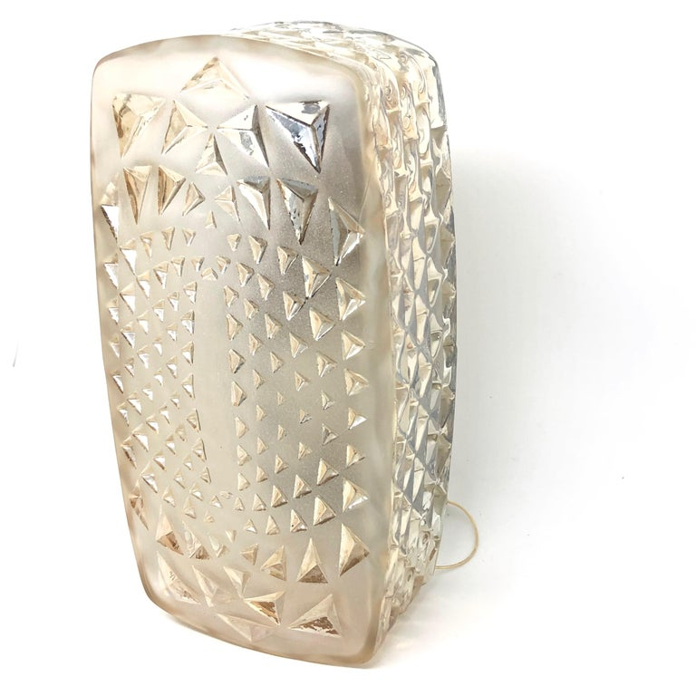 Mid-Century Modern Gorgeous Glass Sconce Vintage German 1970s by Honsel Leuchten, Germany For Sale