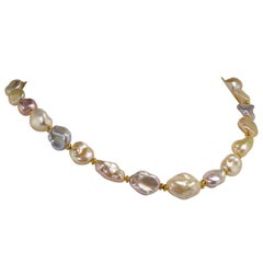 Gorgeous, Glowing, Iridescent Freshwater Pearl Choker Necklace June Birthstone