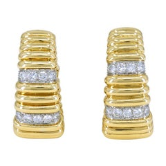 Gorgeous Gold and Diamond David Webb Ear Clips