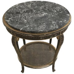 Gorgeous Gold Giltwood Oval Side Table with Marble Top