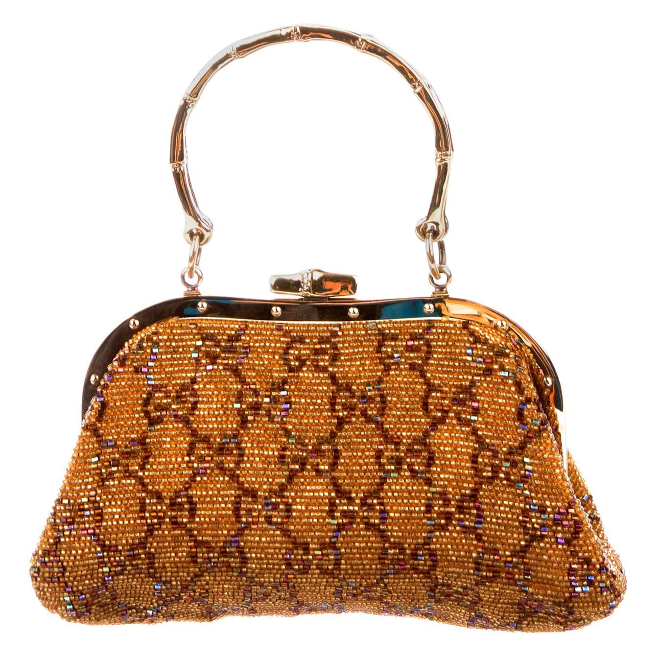 Gorgeous Golden Metallic Gucci GG Monogram Beaded Bag Purse Bamboo Handles