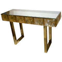 Gorgeous Golden Multi-Faceted Murano Glass and Brass Console Table, Italy