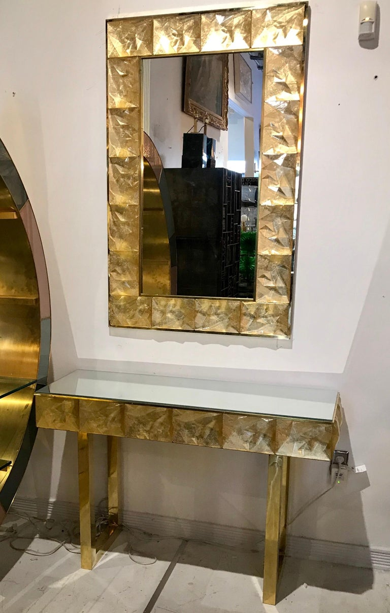 Gorgeous Golden Murano Glass and Brass Mirror, Italy For Sale 4