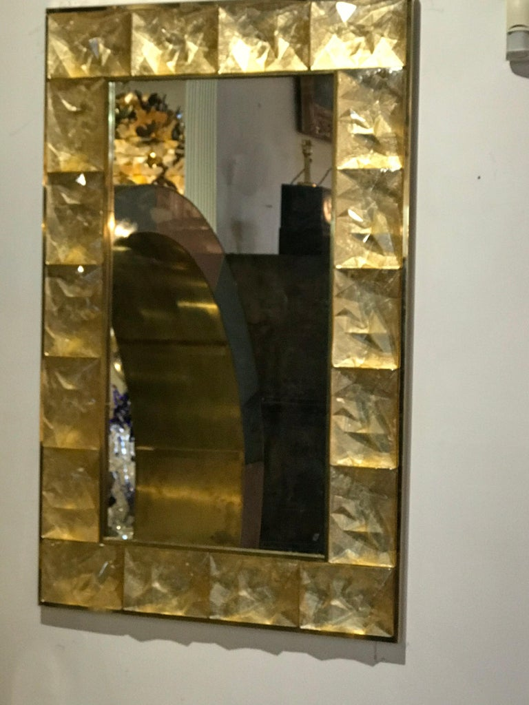 Italian Gorgeous Golden Murano Glass and Brass Mirror, Italy For Sale