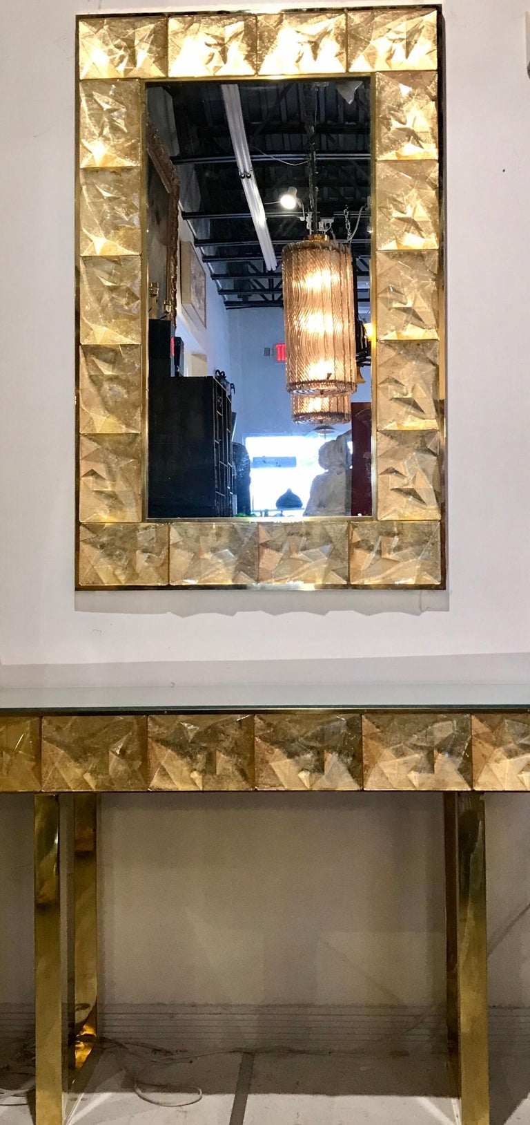 Gorgeous Golden Murano Glass and Brass Mirror, Italy In Good Condition For Sale In Miami, FL