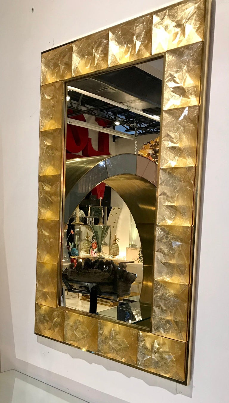 Gorgeous Golden Murano Glass and Brass Mirror, Italy For Sale 2