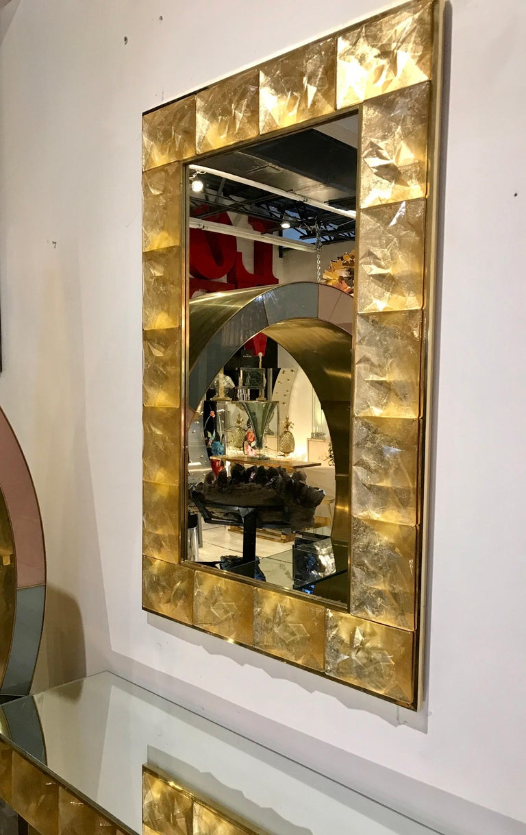 Gorgeous Golden Murano Glass and Brass Mirror, Italy For Sale 3