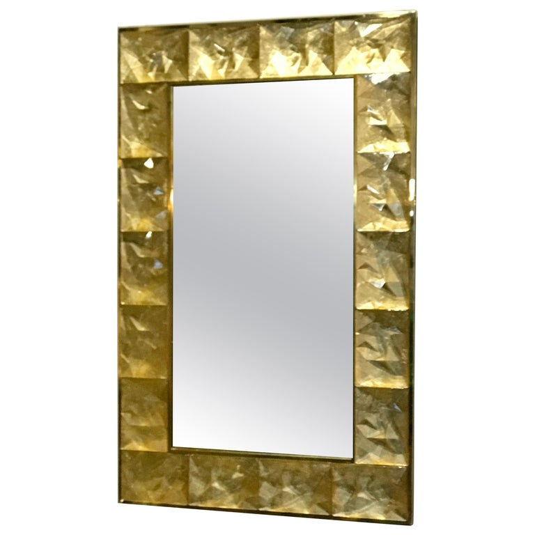 Gorgeous Golden Murano Glass and Brass Mirror, Italy For Sale