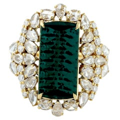 Gorgeous Green Tourmaline Ring with Pear and Round Shape Diamonds in 18k Gold