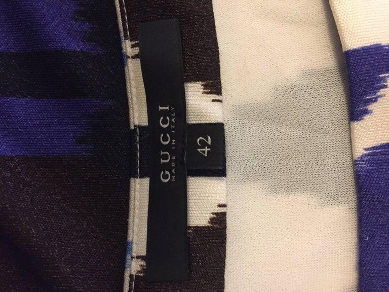 Women's Gucci Blue, White and Black Ikat Tribal Print Silk Dress 42 EU For Sale