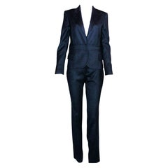 Gorgeous Gucci by Tom Ford Tailored Pant Suit with Leather Detail Trimming