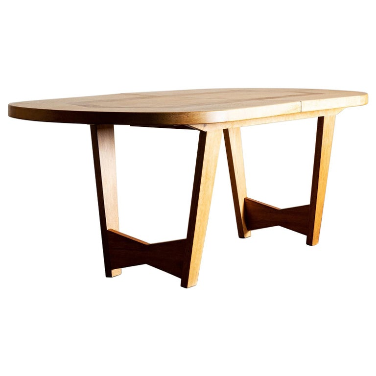 """Gorgeous Guillerme et Chambron """"Ardennes"""" Dining Table in Oak, France, 1960"""