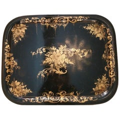 Toleware Tray Hand Painted with Gold Paint  France