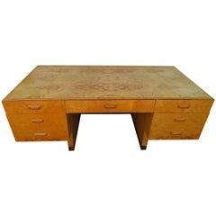 Gorgeous Henredon Scene Two Burled Olive Wood Executive Desk Mid-Century Modern