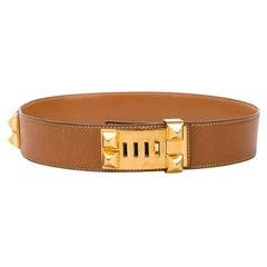 Gorgeous Hermes Camel Calfskin Leather Collier de Chien Medor 65cm